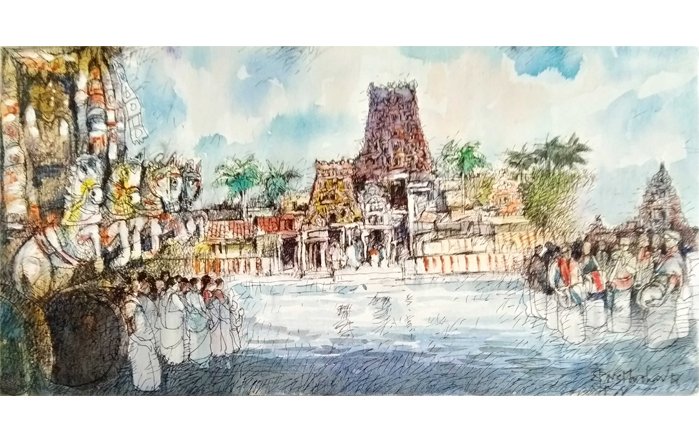 NSM0017 Mylapore Temple - X Mixed Media on Canvas 12 x 24 inches Unavailable