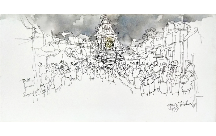 NSM0012 Mylapore Temple - V Mixed Media on Canvas 12 x 24 inches Available