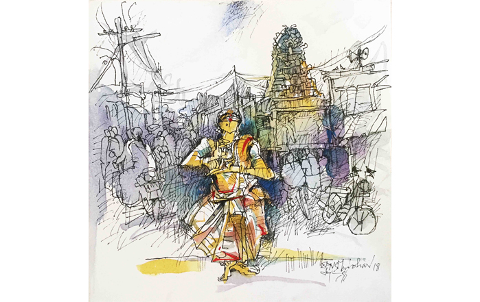 NSM0013 Mylapore Temple - VI Mixed Media on Canvas 12 x 12 inches Available