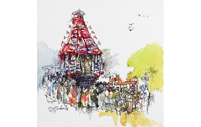 NSM0016 Mylapore Temple - IX Mixed Media on Canvas 12 x 12 inches Available