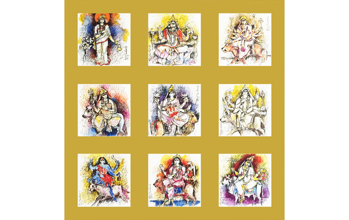 NSM0025 Nava Durga series II  Mixed Media on Canvas 6 x 6 inches (each) Unavailable (Can be commissioned)