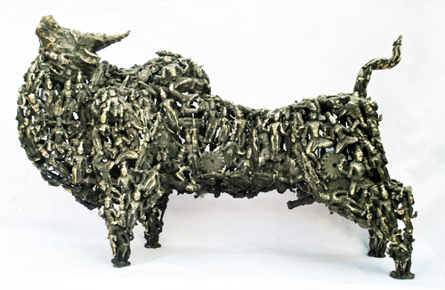 EL19  Bull - I / Interface 	 Bronze on Granite  44 x 15 x 28 inches  Unavailable (can be commissioned)