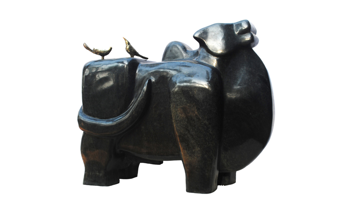 EL0046 Bull - XVI Granite and Bronze 22 x 9 x 17.5 inches Available