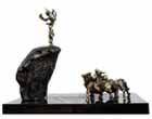 EL39 <br> Krishna with Cows - V <br> Bronze, Granite on Wood <br> 18 x 12 x 22 inches <br> Unavailable (Can be commissioned)
