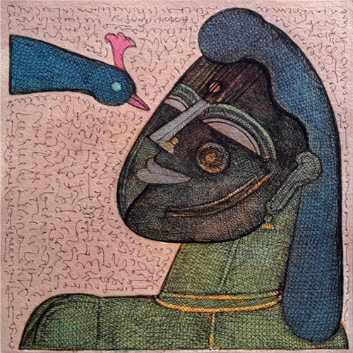 SU18 Woman with Bird - V  Ink and photo color on paper 12 x 12 inches Unavailable (Can be commissioned)