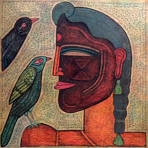 SU19 Woman with Birds  Ink and photo color on paper 12 x 12 inches Available