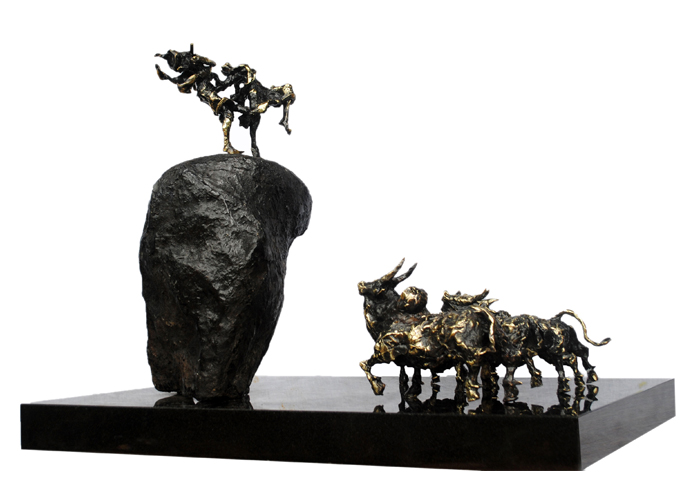 EL26  Radha and Krishna with Cows  Bronze on Granite  30 x 24 x 24 inches  Available