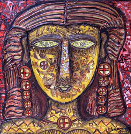 SA03  Tribal Woman - II  Acrylic on canvas< br> 12 x 12 inches  Unavailable (Can be commissioned)
