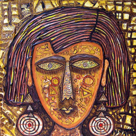 SA04  Tribal Woman - III  Acrylic on canvas  12 x 12 inches  Unavailable (Can be commissioned)