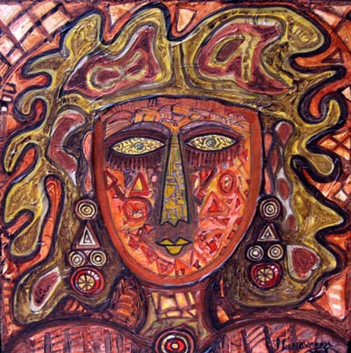 SA06  Tribal Woman - I  Acrylic on canvas  12 x 12 inches  Unavailable (Can be commissioned)