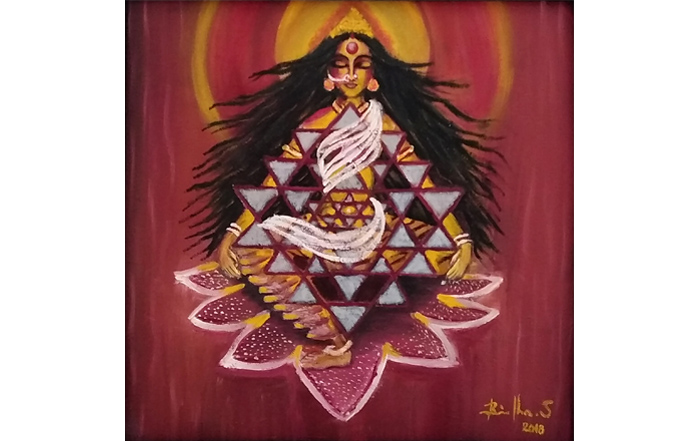 S.Brindha  Aadhi Shakti  Oil on canvas  12 x 12 inches  Unavailable (Can be commissioned)