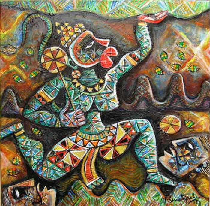 SE03  Hanuman - II  Acrylic on canvas  20 x 20 inches  Unavailable (Can be commissioned)