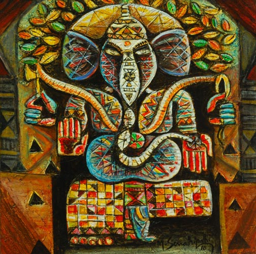 SE04  Ganesh  Acrylic on canvas  20 x 20 inches  Unavailable (Can be commissioned)