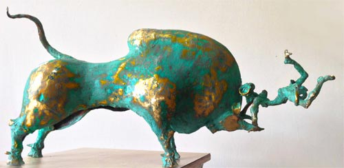 EL18  Jallikattu - III     Bronze on Wood   26  x 6 x 12.5 inches  Unavailable (can be commissioned)