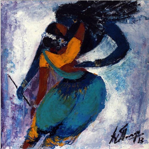 AV39   Raas Leela 3    Acrylic on canvas   12 x 12 inches  Available
