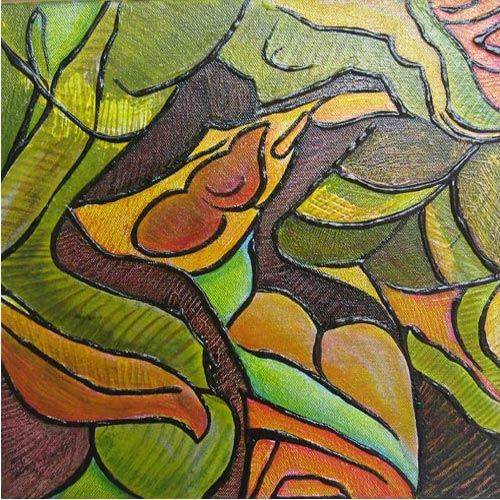 K.P.Nagarajan  Untitled - I  Acrylic on canvas  12 x 12 inches  Unavailable (Can be commissioned)