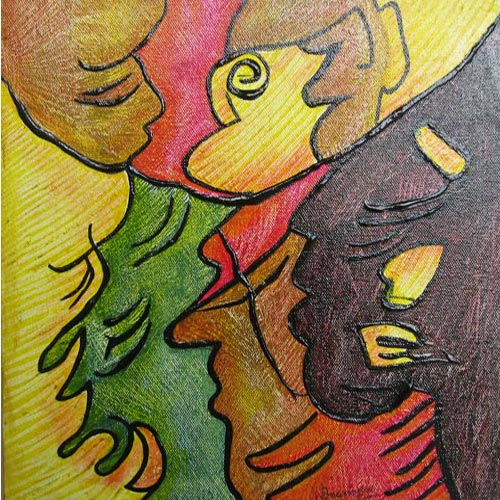 K.P.Nagarajan  Untitled - IV  Acrylic on canvas  12 x 12 inches  Unavailable (Can be commissioned)
