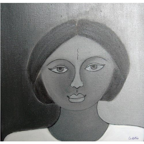G Latha  Bakthi - II  Acrylic on canvas 	 12 x 12 inches  Unavailable (Can be commissioned)
