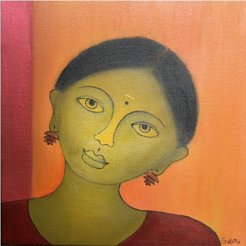 G Latha  Bakthi - III  Acrylic on canvas 	 12 x 12 inches  Unavailable (Can be commissioned)