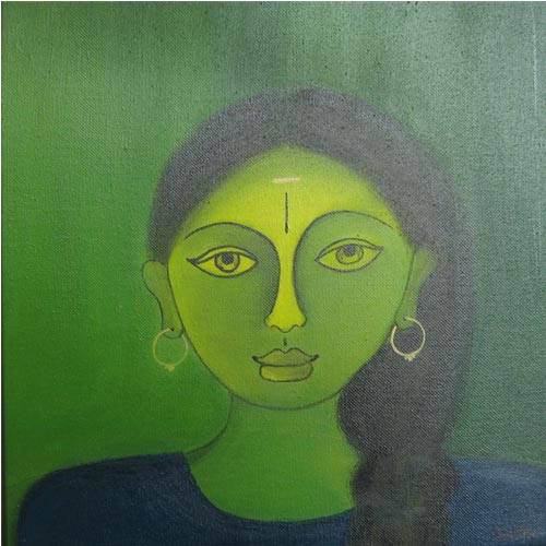 G Latha  Bakthi - IV  Acrylic on canvas  12 x 12 inches  Unavailable (Can be commissioned)