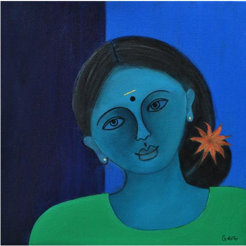 G Latha  Bakthi - I  Acrylic on canvas 	 12 x 12 inches  Unavailable