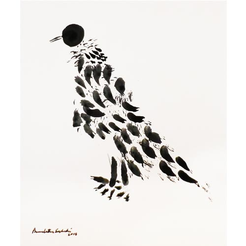 Premalatha Seshadri  PAKSHI, Bird - C  Ink on paper  10 x 7.5 inches  Unavailable (Can be commissioned)