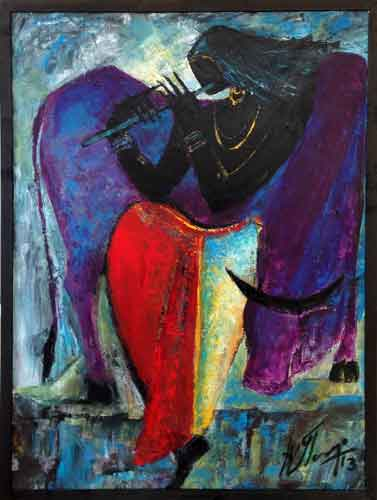 AV43  Krishna - II  Acrylic on Canvas  48 x 36  Unavailable (Can be commissioned)