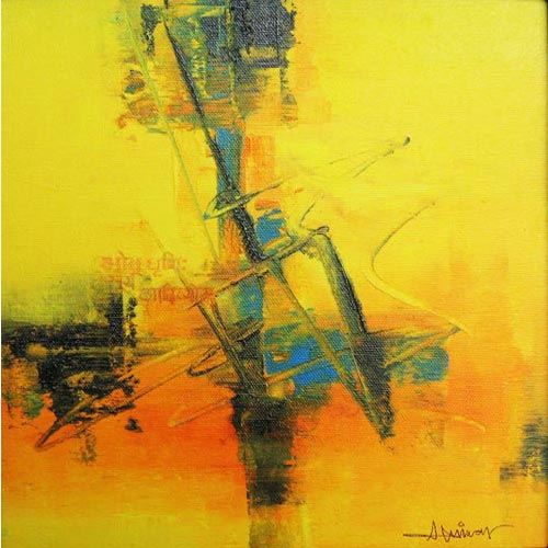 Raju Durshettiwar  Defining Space - II  Acrylic on canvas  11 x 11 inches  Available