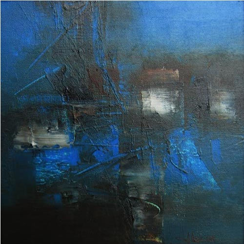 Raju Durshettiwar  Defining Space - I  Acrylic on canvas  11 x 11 inches  Available