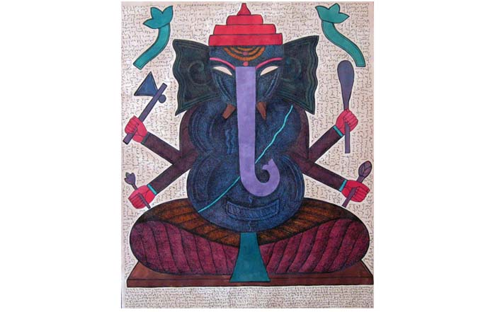 SU02  Ganesha - I  Mixed media on paper  23.5 x 20 inches  Unavailable (can be commissioned)