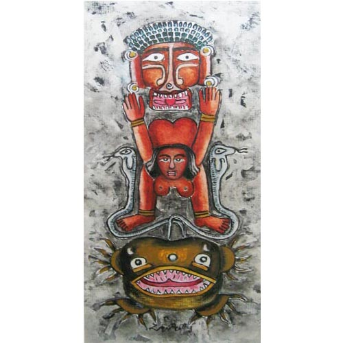 D.Venkatapathy  Totem - II  Acrylic on paper  14 x 7 inches   Unavailable (Can be commissioned)