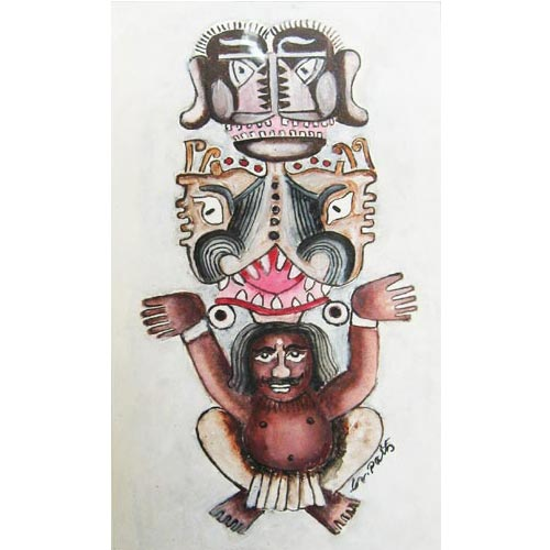 D.Venkatapathy  Totem - IV  Acrylic on paper  14 x 7 inches  Unavailable (Can be commissioned)