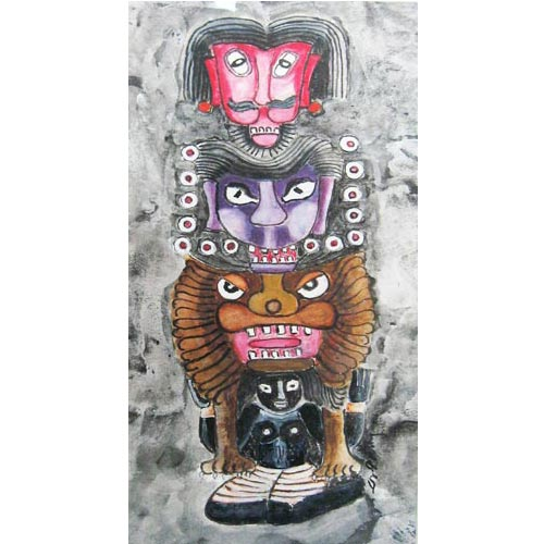 D.Venkatapathy  Totem - III  Acrylic on paper  14 x 7 inches  Unavailable (Can be commissioned)